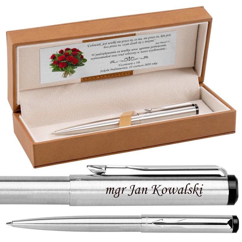 Długopis Parker Vector Stalowy Prezent Tabliczka Grawer