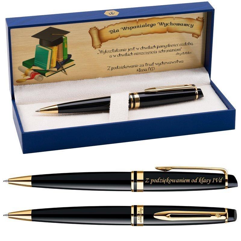 Długopis Waterman Expert czarny GT GRAWER Tabliczka