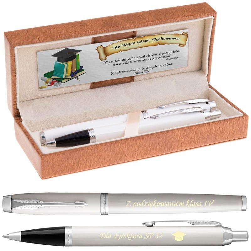 Zestaw Parker IM Pióro + Długopis Białe CT Grawer