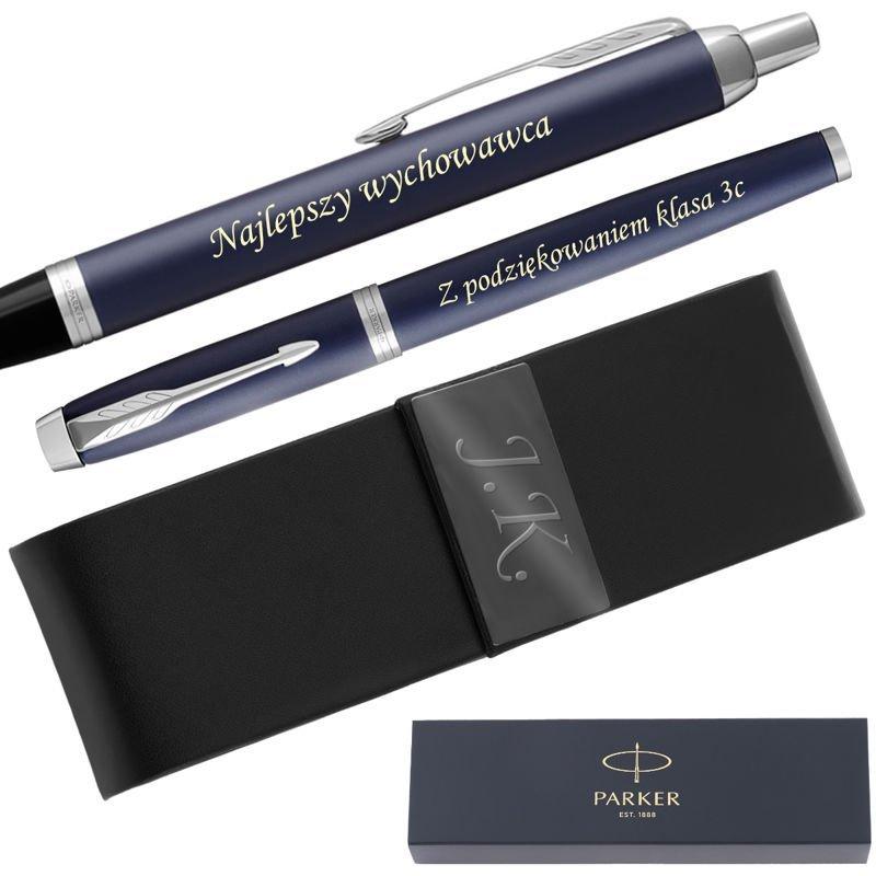 Zestaw Parker IM Pióro + Długopis Blue Mat CT + Etui Grawer