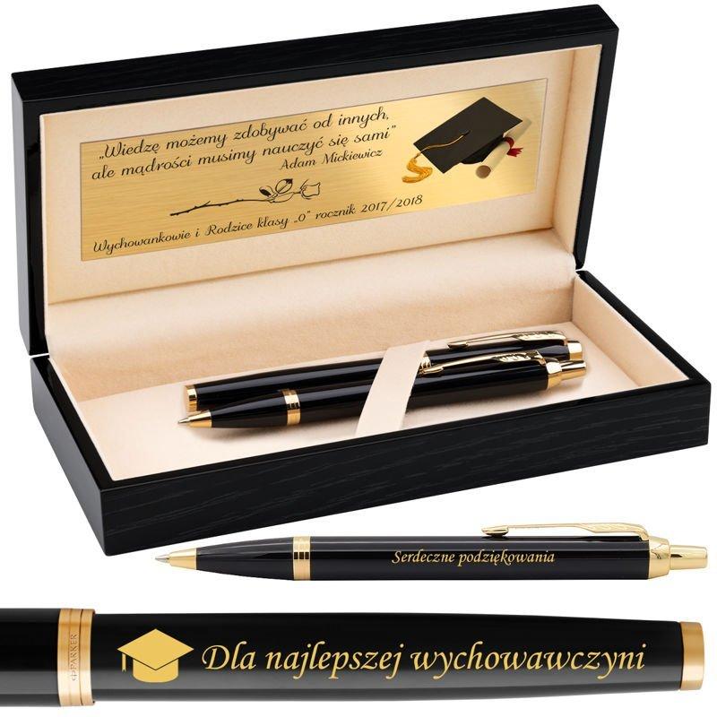 Zestaw Parker IM Pióro Wieczne + Długopis Black GT Grawer !!Nowość!!
