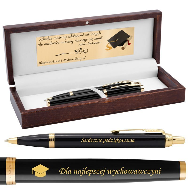 Zestaw Parker IM Pióro Wieczne + Długopis Black GT Grawer Nowość