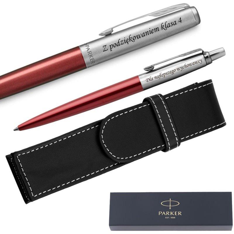 Zestaw Pióro + Długopis Jotter Parker Czerwone CT + Etui Grawer