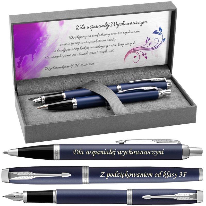Zestaw Pióro Długopis Parker IM Blue CT z Grawerem