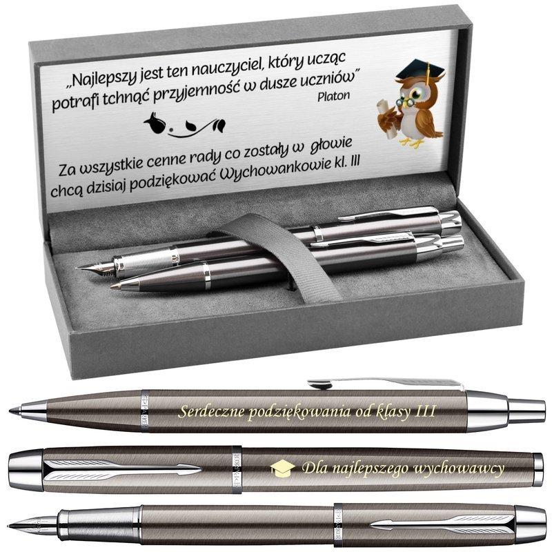 Zestaw Pióro i Długopis Parker IM Gun Metal CT z Grawerem