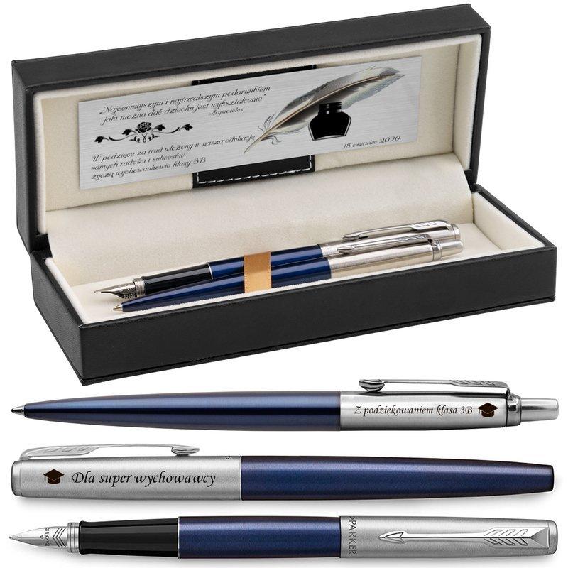 Zestaw Pióro wieczne Długopis Jotter Parker Royal Granatowy CT z Grawerem