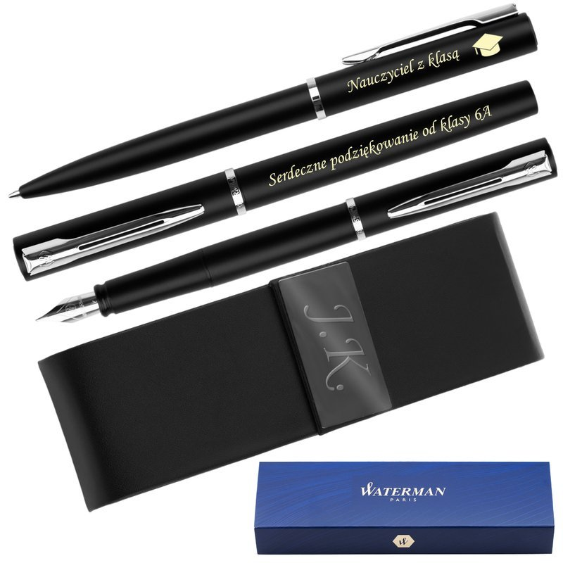 Zestaw Waterman Pióro + Długopis Allure Czarne CT + Etui Grawer
