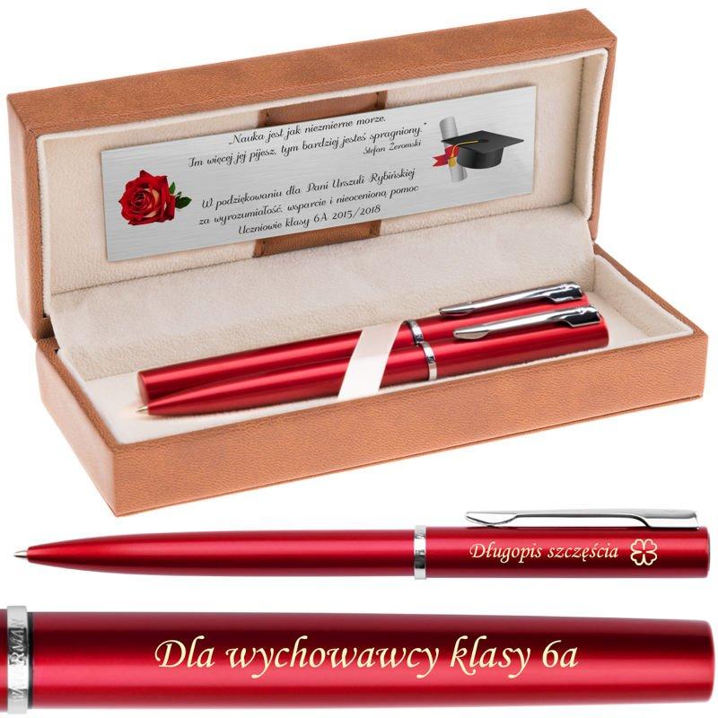Zestaw Waterman Pióro + Długopis Allure Czerwony CT Grawer