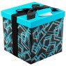 Pudełko na prezent czarne z błękitnym wzorem M+ 1