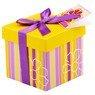 Pudełko na prezent fioletowo-żółte paski XS 1